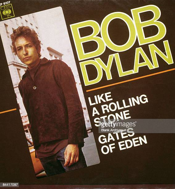 The cover of the French 7inch single release of 'Like A Rolling Stone'/'Gates Of Eden' by American singersongwriter Bob Dylan 1965