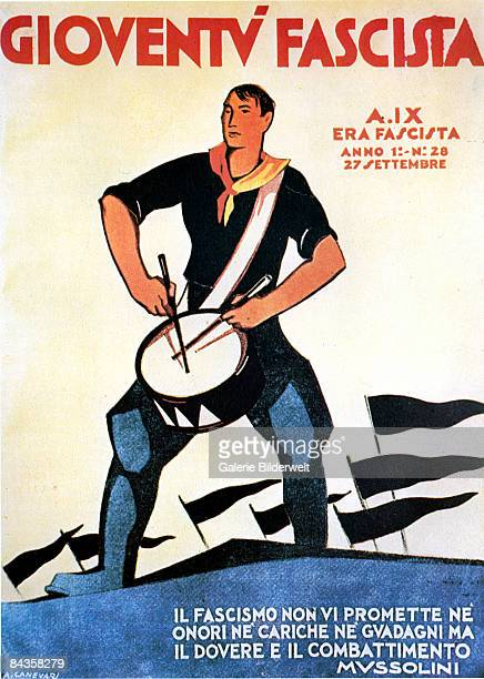 The cover of the Italian magazine 'Gioventu Fascista' or 'Fascist Youth' 27th September 1931 Cover art by A Canevari