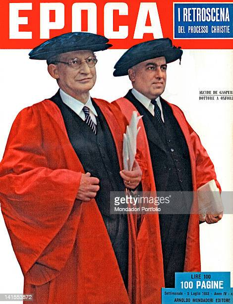 The cover of the Italian weekly magazine Epoca showing the Italian Prime Minister Alcide De Gasperi and the Home Secretary of the United Kingdom...