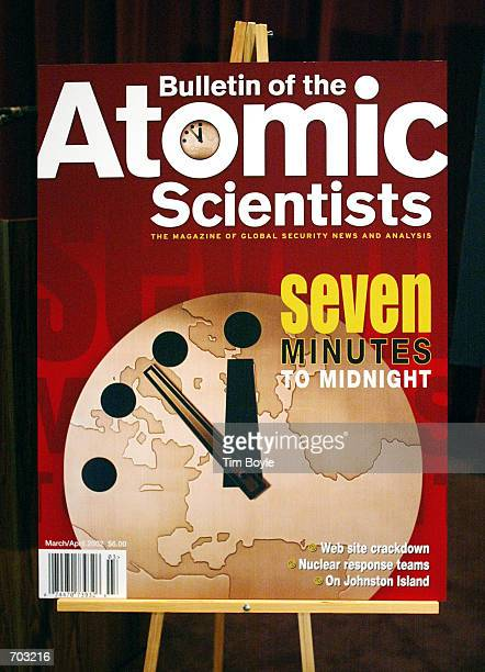 The cover of the March/April 2002 edition of the Bulletin of the Atomic Scientists is displayed after a press conference at which the hands of the...