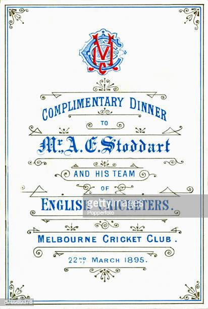 The cover of the menu card for the Complimentary Dinner for the England cricket team captained by Mr AE Stoddart held at the Melbourne Cricket Club...