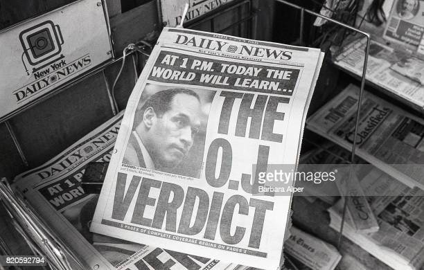 The cover of the New York Daily News 3rd October 1995 the day of the verdict in O J Simpson's trial for the murders of Nicole Brown Simpson and Ron...
