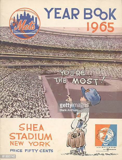 The cover of the New York Mets baseball team Yearbook features the team's logo a photograph of fans crowded into Shea Stadium and a cartoon...