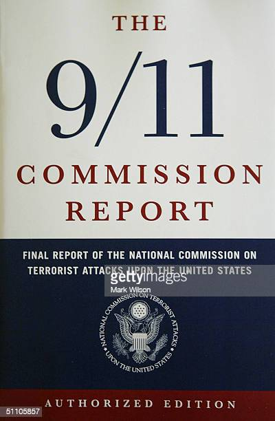 The cover of the newly released 911 Commission's report is seen July 22 2004 in Washington DC The commission investigated the intelligence failures...