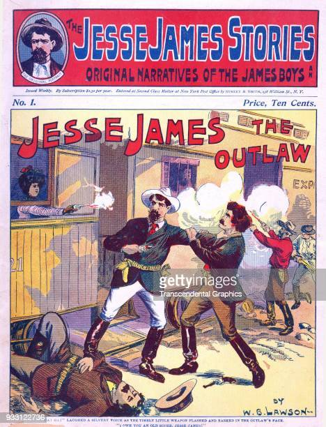 The cover of the premire issue of the Jesse James Stories dime novel featured an illustration of shootout during a train robbery August 15 1902 It...