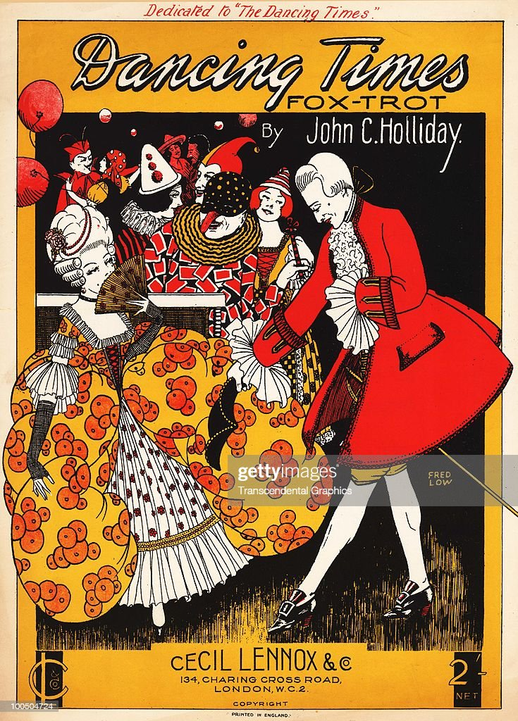 The cover of the sheet music for the 'Dancing Times Fox-Trot' by John C. Holliday features an illustration (by Fred Low) of a man as he ask a woman to dance, while carnival characters and performers cavort in the background, published by London-based Cecil Lennox & Co., late 19th or early 20th century. (Photo by Transcendental Graphics/Getty Images))