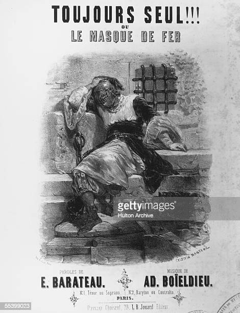 The cover of the sheet music of a work inspired by Alexandre Dumas Pere's novel 'The Man In The Iron Mask' entitled 'Toujours Seul Ou Le Masque De...