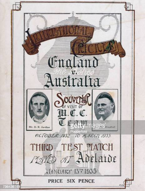 The cover of the souvenir brochure for the Third Test between Australia and the MCC touring team in Adelaide Australia on 13th January 1933 The cover...