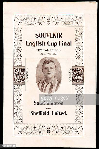The cover of the souvenir programme featuring Willie Foulke of Sheffield United for the FA Cup Final between Southampton and Sheffiield United at...