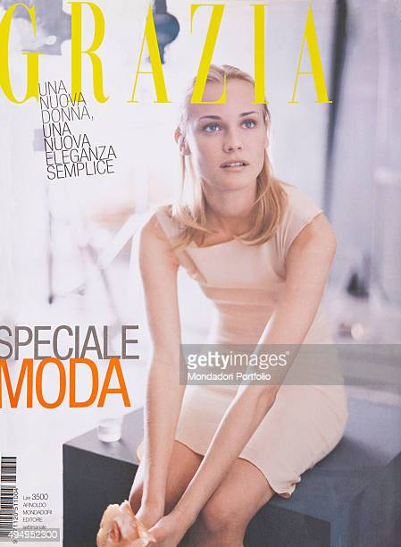 The cover of the weekly magazine Grazia with a model posing Italy March 1998