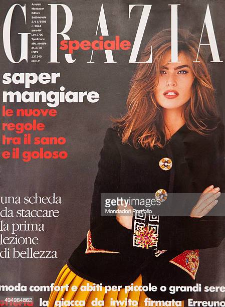 The cover of the weekly magazine Grazia with a model posing Italy November 1991