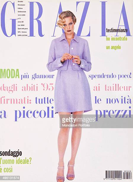 The cover of the weekly magazine Grazia with a model posing Italy November 1995
