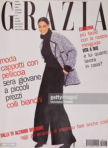 The cover of the weekly magazine Grazia with a model posing Italy November 1994