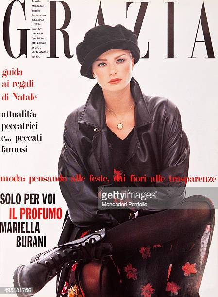 The cover of the weekly magazine Grazia with a model posing seated Italy December 1993