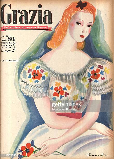 The cover of the women's magazine Grazia showing a picture of a young woman sitting with a flower in her hand 1930s
