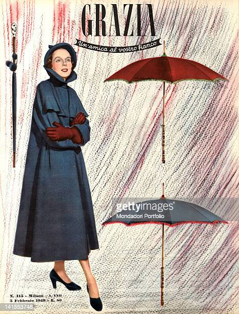 The cover of the women's magazine Grazia showing a young woman beside some umbrellas. 1940s
