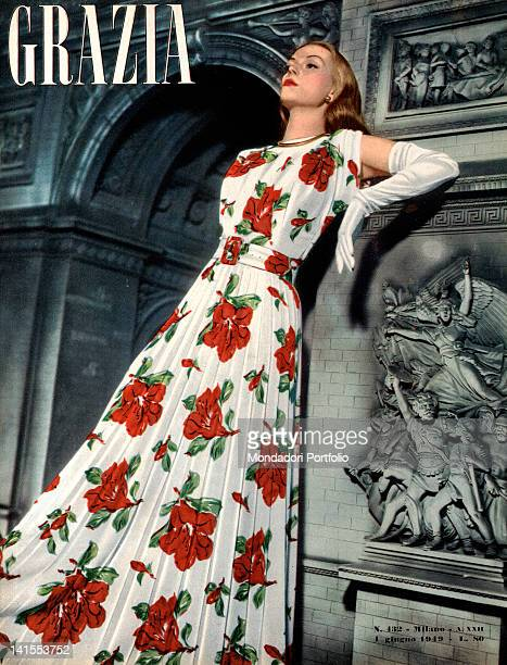 The cover of the women's magazine Grazia showing a young woman posing. 1940s