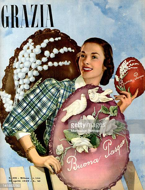 The cover of the women's magazine Grazia showing a young woman with some easter eggs. 1940s