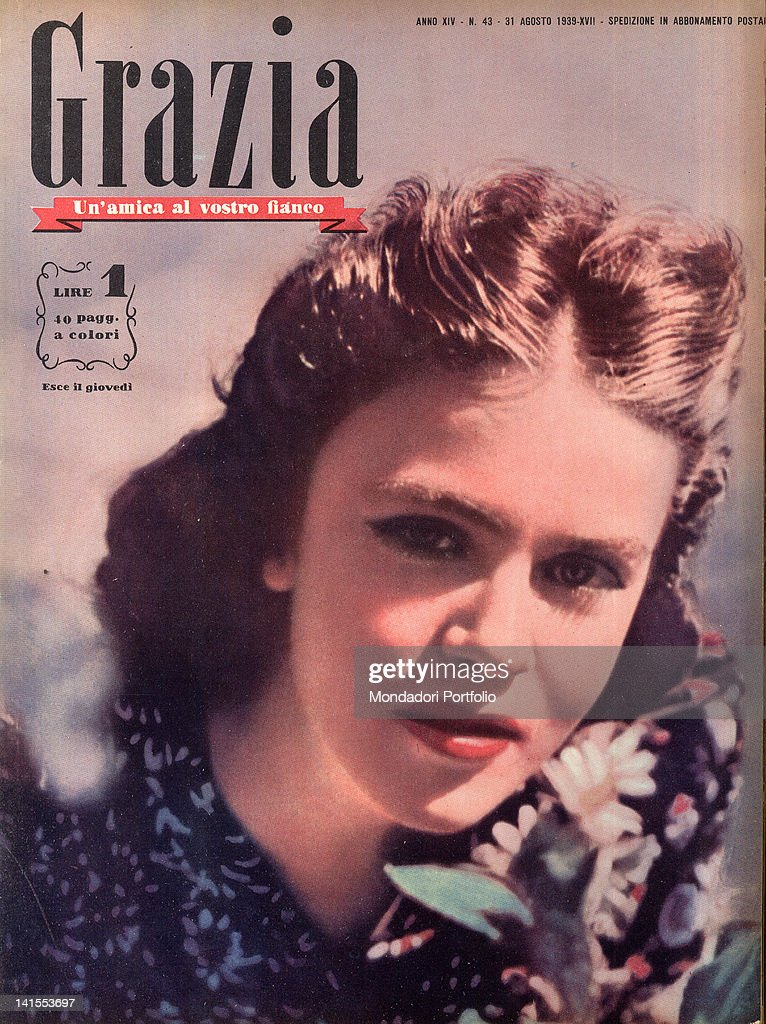 The cover of the women's magazine Grazia showing a young woman's face. 1930