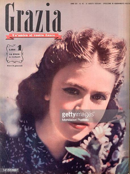 The cover of the women's magazine Grazia showing a young woman's face 1930