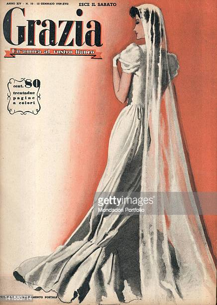 The cover of the women's magazine Grazia showing the picture of a young woman in wedding dress 1930s