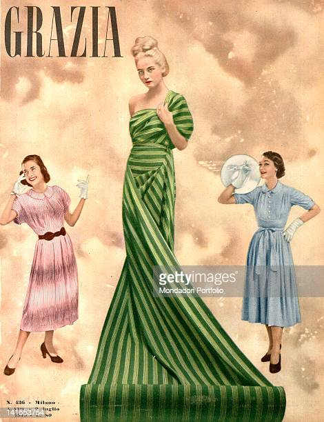 The cover of the women's magazine Grazia showing three young women posing 1940s
