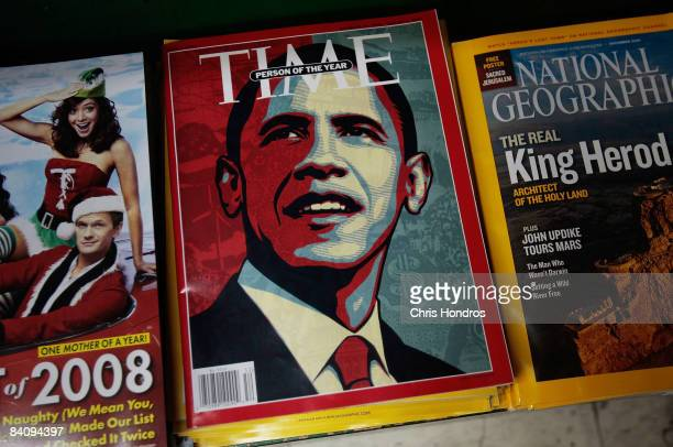 The cover of Time magazine naming Barack Obama as Person of the Year sits at a news stand December 19, 2008 in New York City.