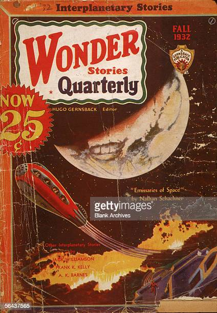 The cover of Wonder Stories Quarterly magazine features an illustration of the lauch of a passenger rocket ship accompanied text promoting science...