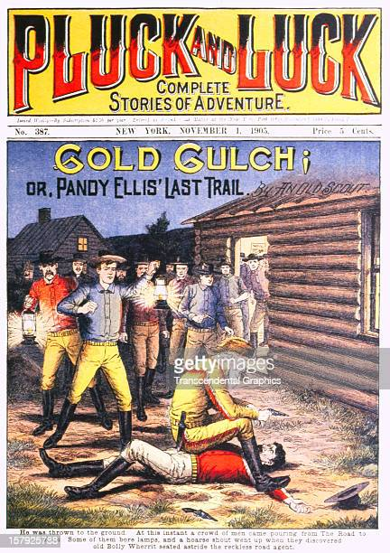 The cover the dime novel in 'Pluck and Luck' magazine is a cowboy fight scene published November 1 1905 in New York City