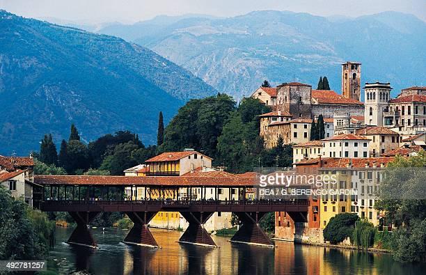 The covered bridge over the Brenta river, designed by Andrea Palladio in 1569, Bassano del Grappa, Veneto, Italy.