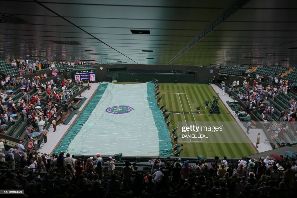 The covers are brought on as rain stops play between Croatia's Marin Cilic and Argentina's Guido Pella in their men's singles second round match on the third day of the 2018 Wimbledon Championships at The All England Lawn Tennis Club in Wimbledon, southwest London, on July 4, 2018. (Photo by Daniel LEAL-OLIVAS / AFP) / RESTRICTED