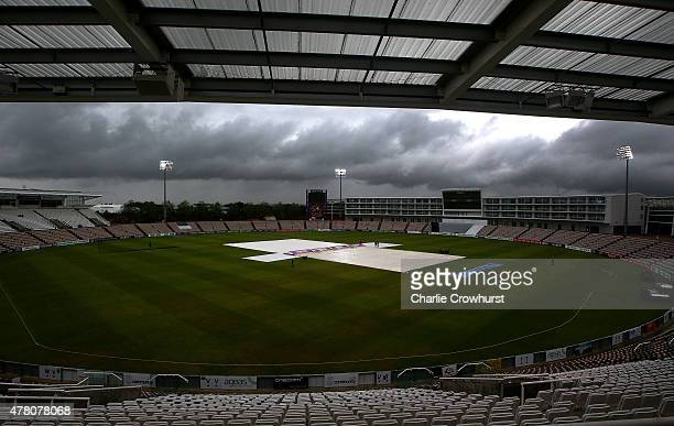 The covers are on as rain delays the start of play during the the LV County Championship match between Hampshire and Somerset at The Ageas Rose Bowl...