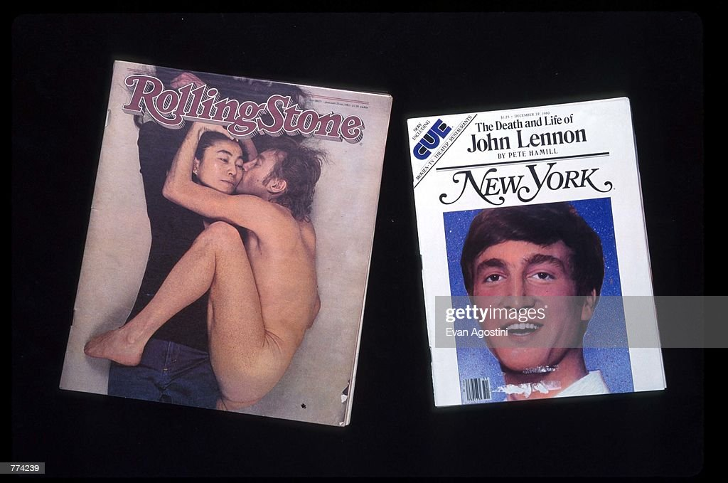 The covers of Rolling Stone Magazine and New York Magazine are on display December 2, 1995 in New York City. The memorial to John Lennon in Central Park called, 'Strawberry Fields' still continues to draw people who leave tributes to him.