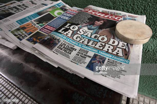 The covers of the main newspapers in Argentina one day after the announcement of the candidacy of Aníbal Fernández and Cristina Kirchner in Buenos...