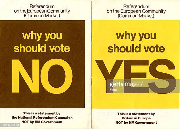 The covers of two booklets that were distributed to every household in Britain outlining the cases for and against joining the European Common Market...