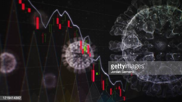 the covid-19 molecule with the stock market trading board - epidemiology stock pictures, royalty-free photos & images
