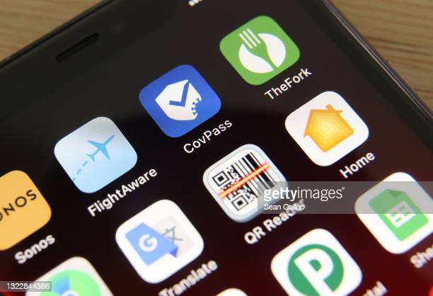 The CovPass smartphone app is seen on an iPhone shortly after its release on June 10, 2021 in Berlin, Germany. CovPass will provide those who have...