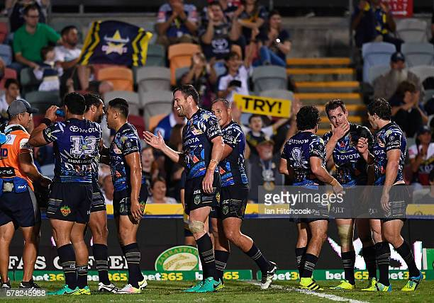 The Cowboys celebrate the try of Antonio Winterstein of the Cowboys during the round 20 NRL match between the North Queensland Cowboys and the...