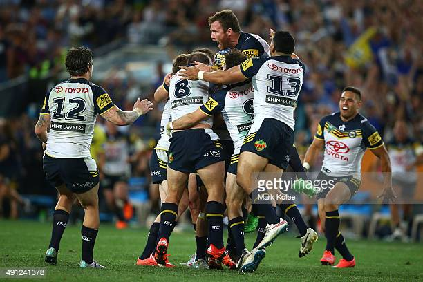 The Cowboys celebrate winning the 2015 NRL Grand Final match between the Brisbane Broncos and the North Queensland Cowboys at ANZ Stadium on October...