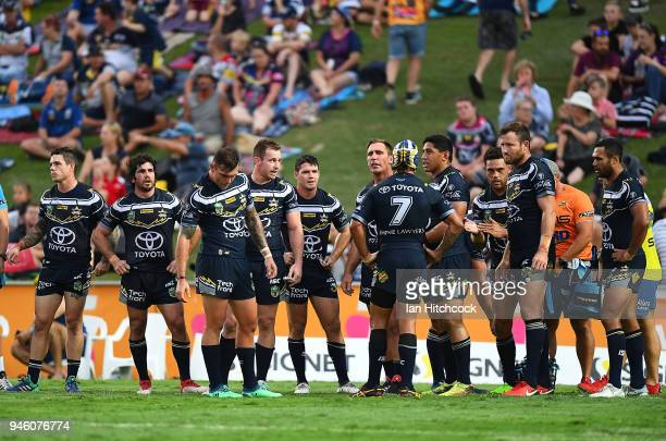 The Cowboys stand in the ingoal area waiting for a Bulldogs conversion attempt during the round six NRL match between the North Queensland Cowboys...