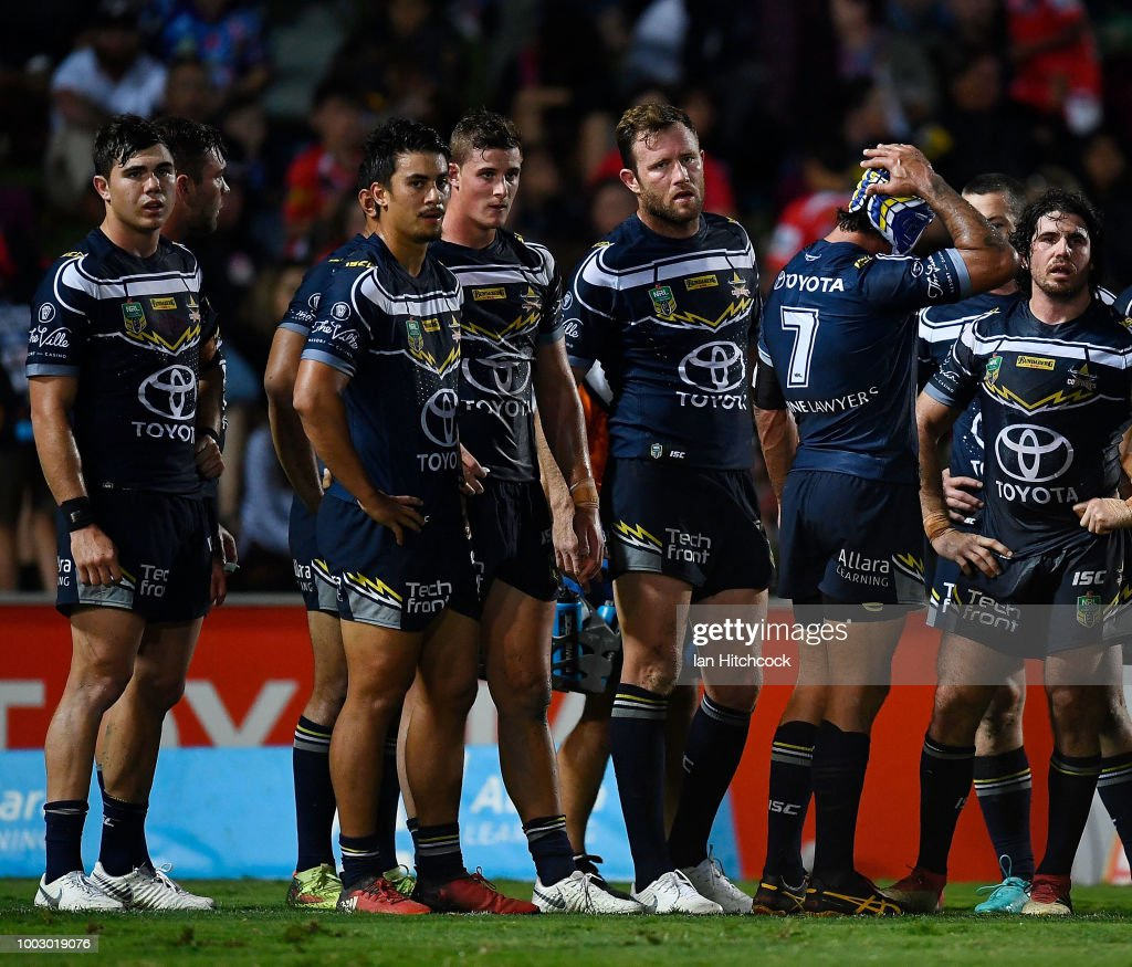 The Cowboys stand in the in-goal area waiting for a conversion attempt during the round 19 NRL match between the North Queensland Cowboys and the St George Illawarra Dragons at 1300SMILES Stadium on July 21, 2018 in Townsville, Australia.