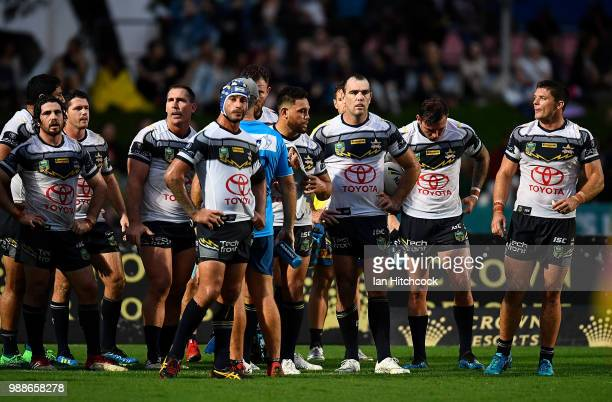 The Cowboys stand in the ingoal area waiting for a conversion attempt during the round 16 NRL match between the South Sydney Rabbitohs and the North...