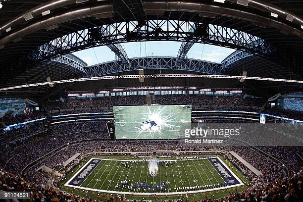 The Cowboys star is revealed on the field before a game between the New York Giants and the Dallas Cowboys at Cowboys Stadium on September 20 2009 in...