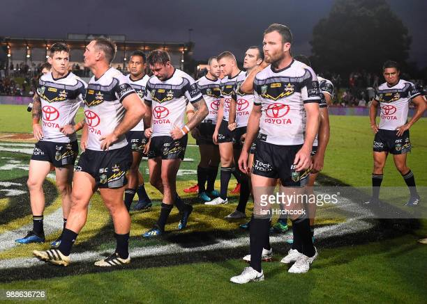 The Cowboys walk from the field after losing the round 16 NRL match between the South Sydney Rabbitohs and the North Queensland Cowboys at Barlow...