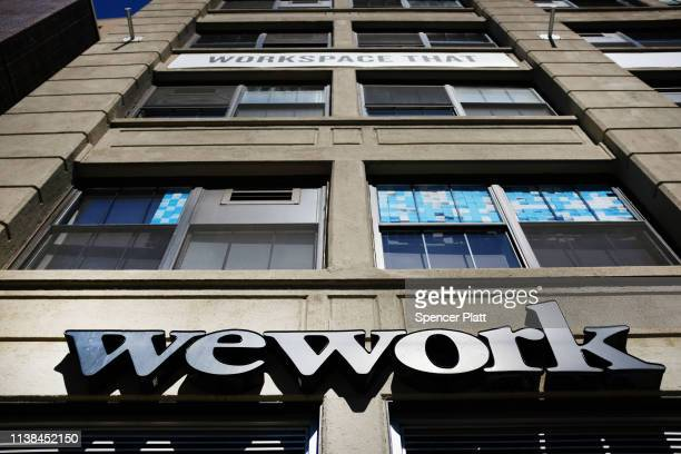 The co-working space WeWork stands in the Williamsburg neighborhood in Brooklyn on March 26, 2019 in New York City. WeWork, which lets freelancers...