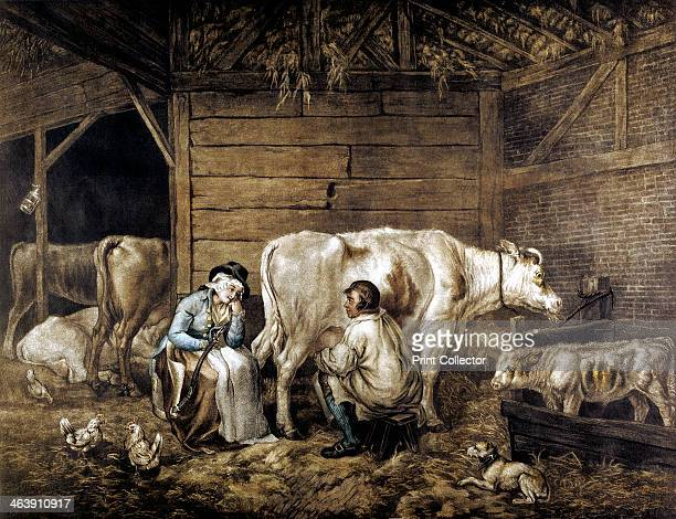 'The Cowshed' A cowman milks into a bucket while a milkmaid waits holding a yoke on which the buckets are carried