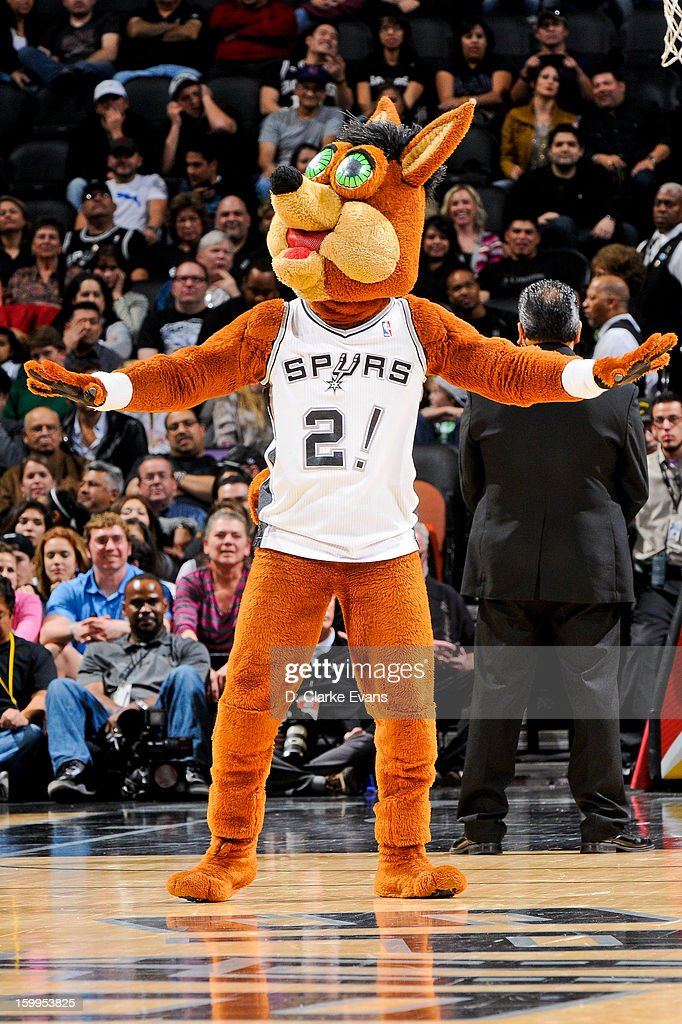 The Coyote, mascot of the San Antonio Spurs, performs during a game against the New Orleans Hornets on January 23, 2013 at the AT&T Center in San Antonio, Texas.