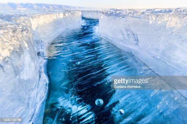 The crack of Baikal ice
