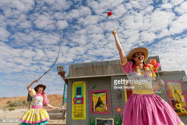The Crackup Sisters perform their sideshow act at The Birdsville Big Red Bash 2017 on July 4 2017 in Birdsville Australia
