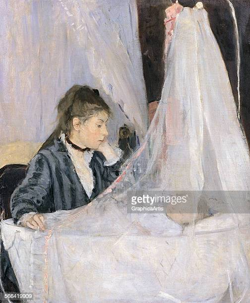 The Cradle by Berthe Morisot oil on canvas from the Musee d'Orsay Paris The subjects are Morisot's sister Edma and Edma's baby daughter Blanche